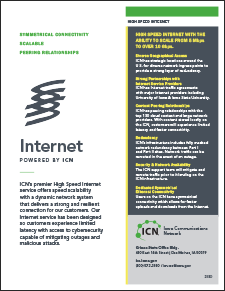 cover of the high speed broadband internet flyer